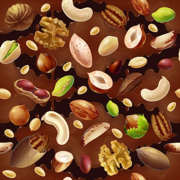 Cartoon kleurrijke biologische voeding naadloze patroon Gratis Vector