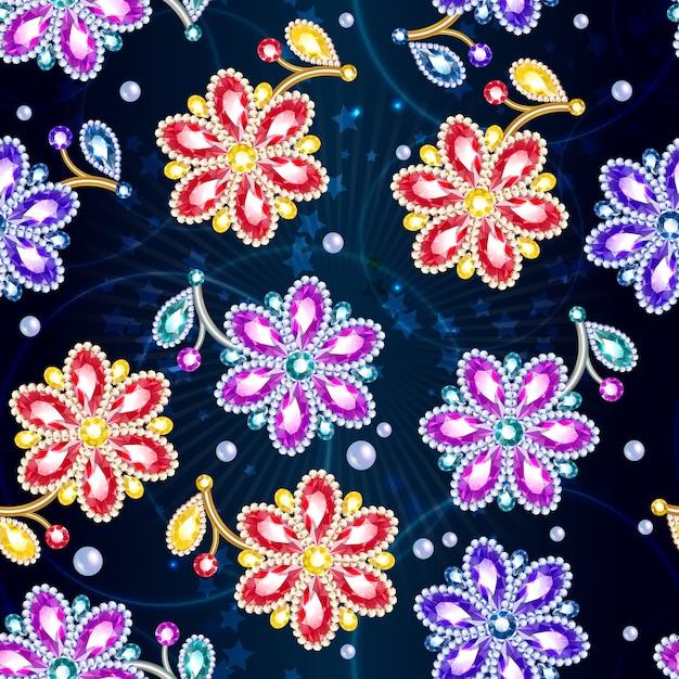 Cartoon kleurrijke glanzende broches naadloze patroon Gratis Vector