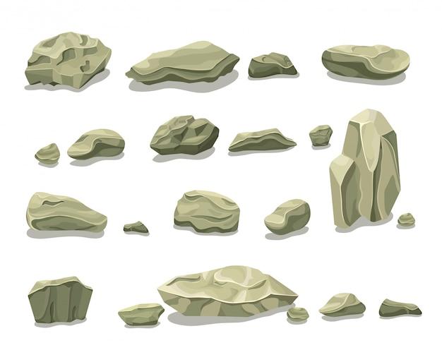Cartoon kleurrijke grijze stenen set Gratis Vector