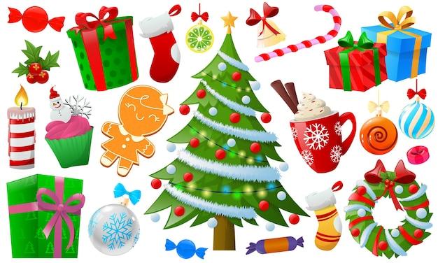 Cartoon kleurrijke kerst element Premium Vector