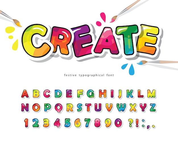 Cartoon kleurrijke lettertype voor kinderen. creatief verfalfabet. Premium Vector