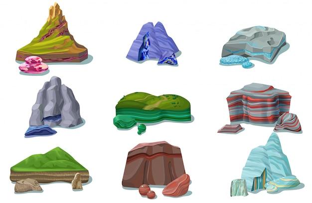 Cartoon kleurrijke mooie rotsen set Gratis Vector
