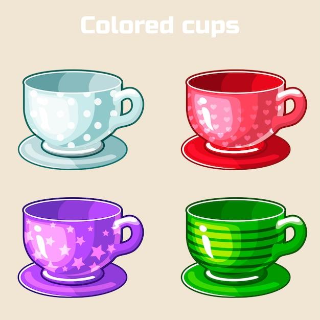 Cartoon kleurrijke thee en koffie kopjes. Premium Vector