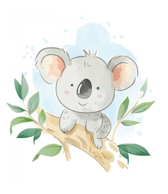 Cartoon koala zittend op de boomtak illustratie Premium Vector