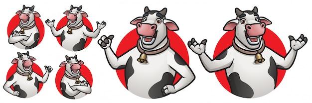 Cartoon koe mascotte voor logo Premium Vector