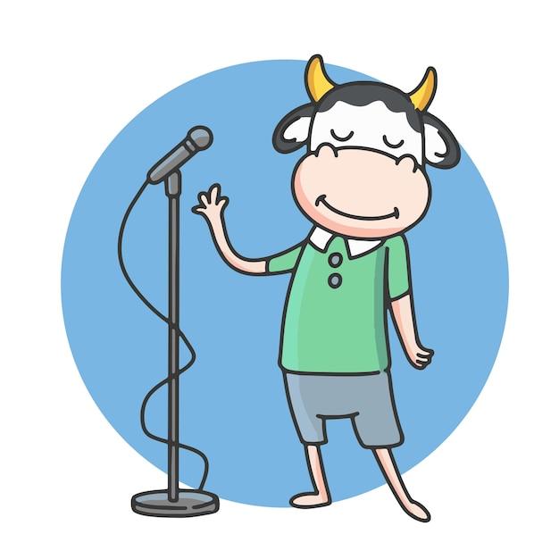 Cartoon koekarakters zingen. Premium Vector