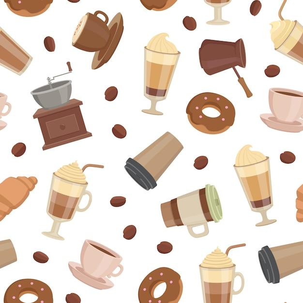Cartoon koffie soorten patroon of illustratie Premium Vector