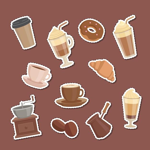 Cartoon koffie soorten stickers set illustratie Premium Vector