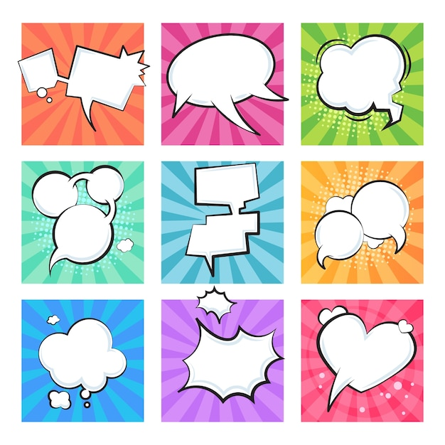 Cartoon komische bubbels. toespraak retro ballonnen explosieve wolk element tekstbericht vorm strips ballon vormen. tekst formuleringen wolken set Premium Vector