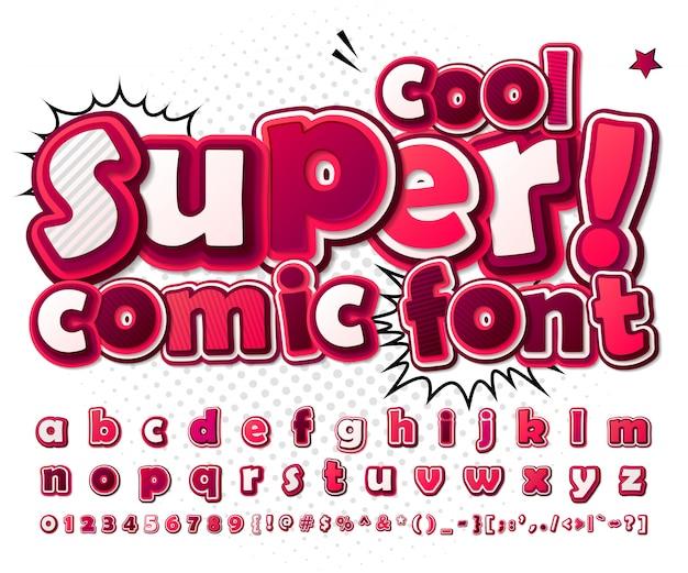 Cartoon komische lettertype. roze alfabet in de stijl van strips, pop-art. meerlagige 3d-letters en cijfers Premium Vector