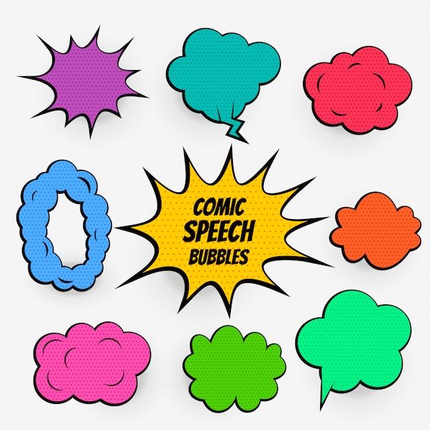 Cartoon komische tekstballonnen in vele kleuren Gratis Vector