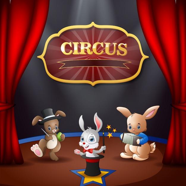 Cartoon konijnen circusvoorstelling op het podium Premium Vector