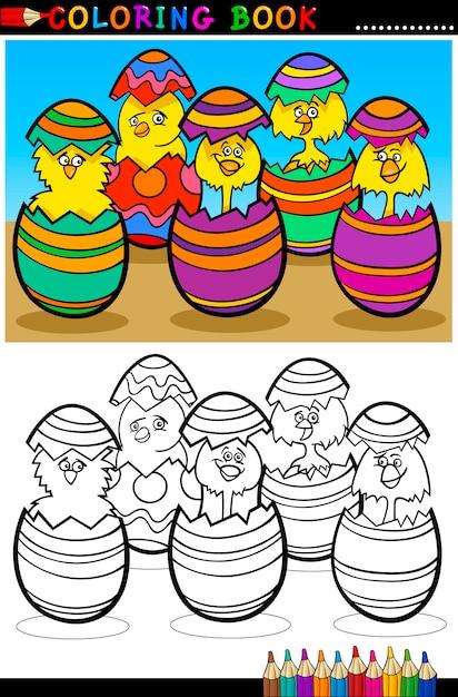 Cartoon Kuikens In Paaseieren Kleurplaat Vector Premium Download