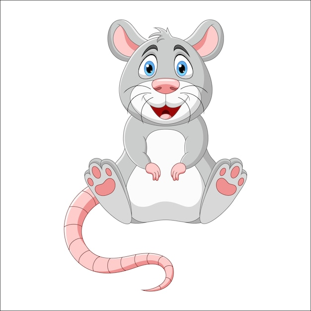 Cartoon lachende muis illustratie Premium Vector