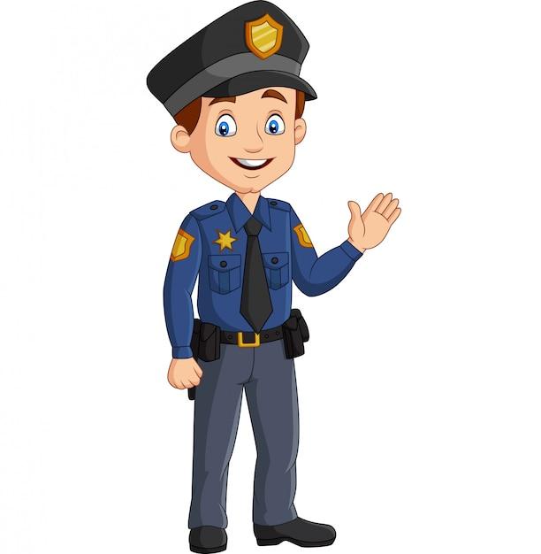 Cartoon lachende politieagent zwaaiende hand Premium Vector