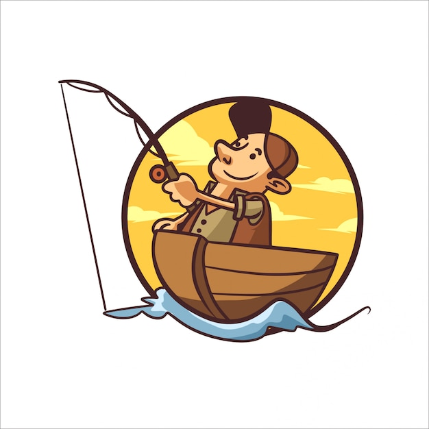 Cartoon lake vissen Premium Vector