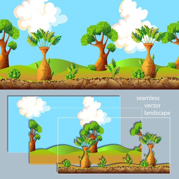 Cartoon landschap gescheiden lagen samenstelling Gratis Vector