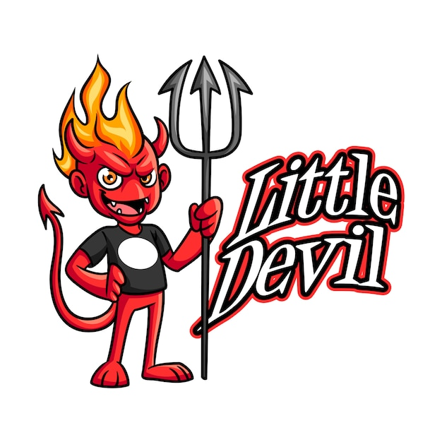 Cartoon little evil devil character mascot logo Premium Vector