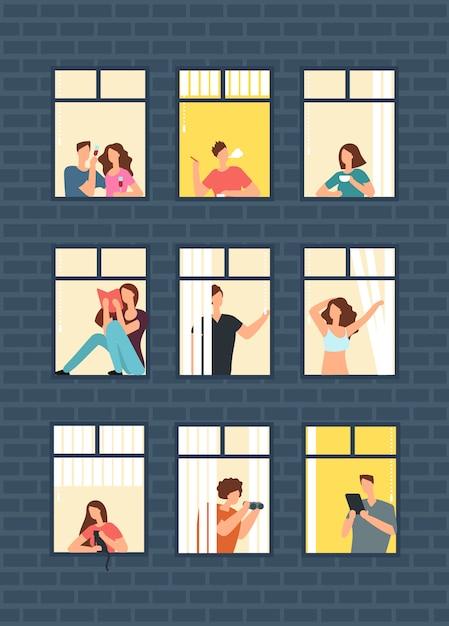 Cartoon man en vrouw buren in appartement ramen in gebouw. Premium Vector