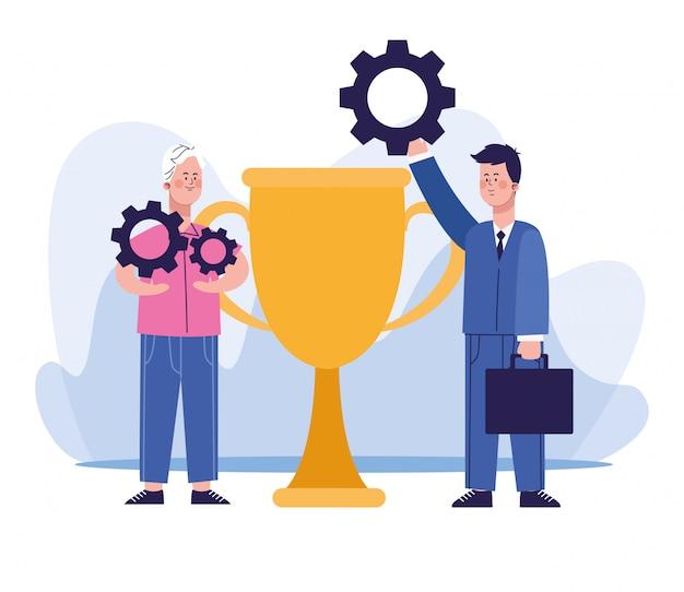 Cartoon man en zakenman met een tandwielen en grote trofee cup Premium Vector