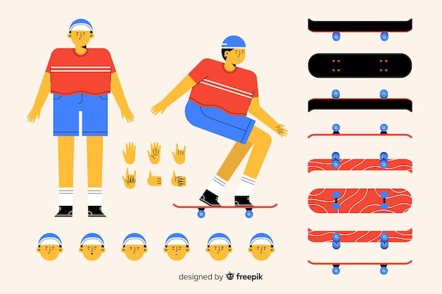 Cartoon man karakter voor ontwerp van de beweging Gratis Vector