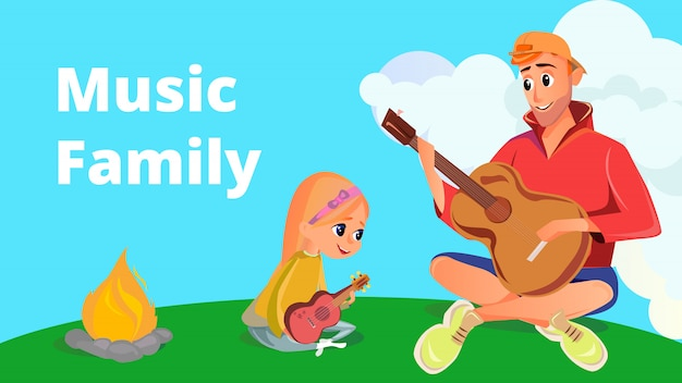 Cartoon man speelt akoestische gitaar meisje met ukelele Premium Vector