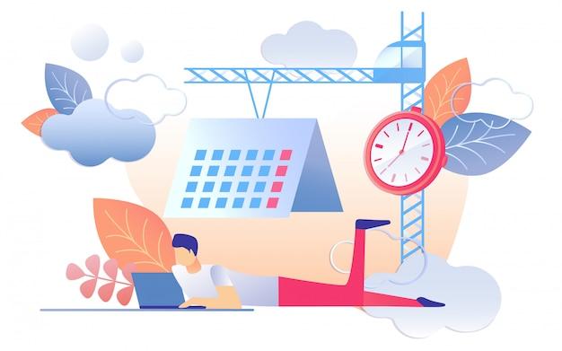 Cartoon man werk notebook klok kalender op kraan Premium Vector