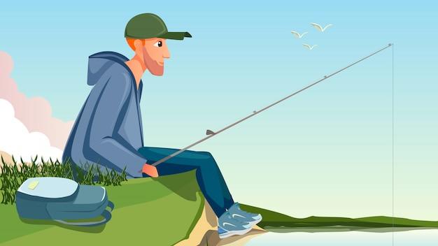Cartoon man zitten op de oever van de rivier holding hengels Premium Vector