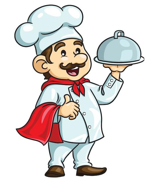 Cartoon mannelijke chef-kok Premium Vector