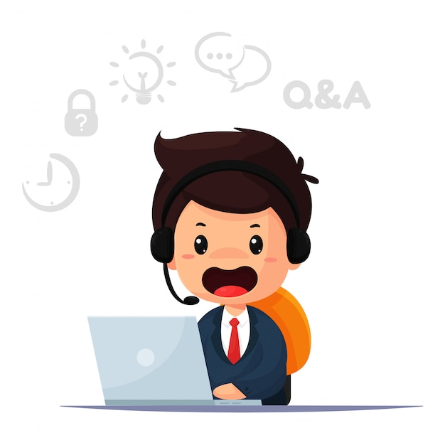 Cartoon medewerker en operator is verantwoordelijk voor het contacteren van klanten en het geven van advies. Premium Vector