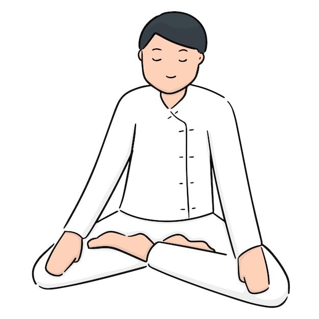 Cartoon meditatie Premium Vector