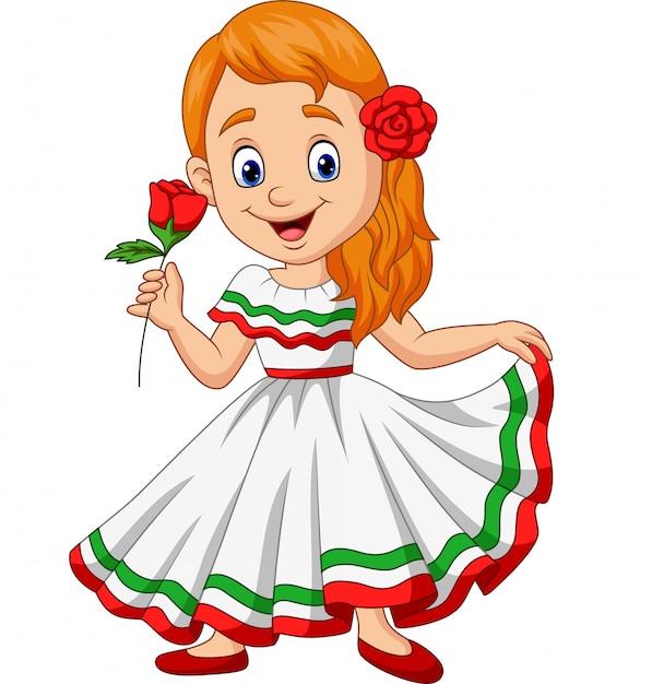 Cartoon meisje dansen, cinco de mayo viering Premium Vector