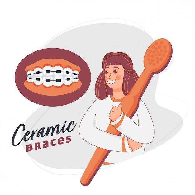 Cartoon meisje met tandenborstel met keramische accolades op witte achtergrond. Premium Vector