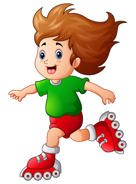 Cartoon meisje rolschaatsen te spelen Premium Vector