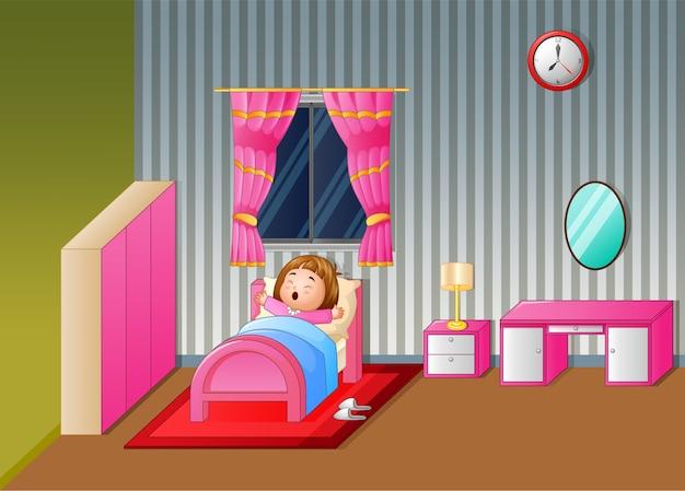 Cartoon meisje wakker en geeuwen Premium Vector