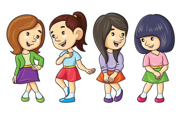 Cartoon meisjes rokken dragen Premium Vector