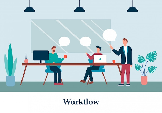 Cartoon men notebook work boss instructies geven Premium Vector