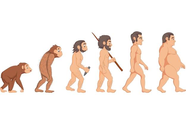 Cartoon menselijke evolutie Premium Vector