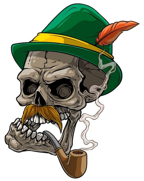 Cartoon menselijke schedel in beierse traditionele hoed Premium Vector