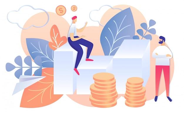 Cartoon mensen bespreken financiële strategieplan Premium Vector