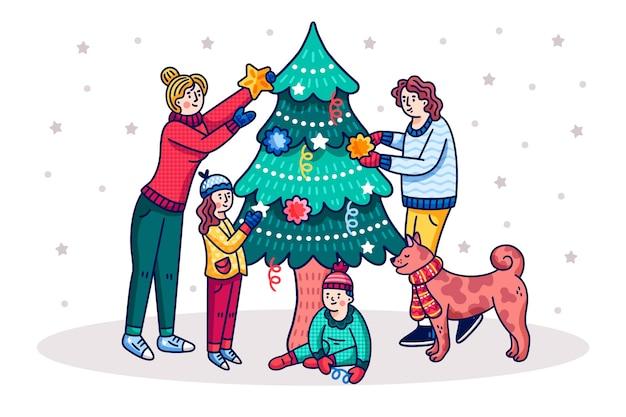 Cartoon mensen boom versieren Gratis Vector