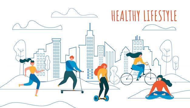 Cartoon mensen fietsen run ride scooter hoverboard Premium Vector