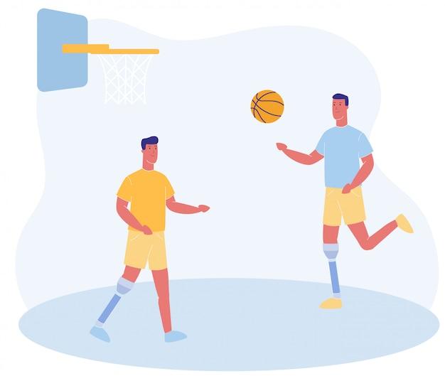 Cartoon mensen met prothetische been spelen basketbal Premium Vector