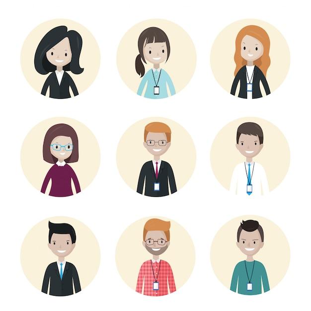 Cartoon mensen uit het bedrijfsleven avatars Premium Vector