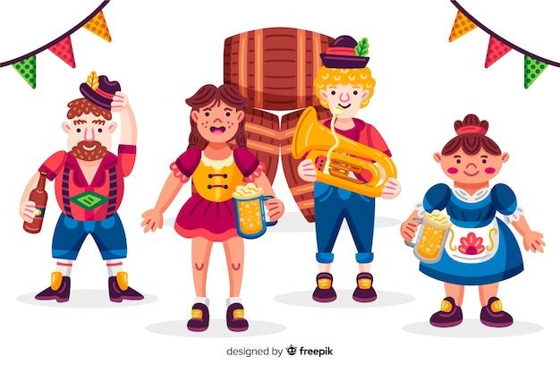 Cartoon mensen vieren het meest oktoberfest Gratis Vector