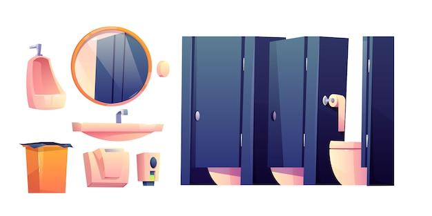 Cartoon meubilair voor openbaar toilet Gratis Vector