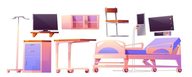 Cartoon meubilair voor ziekenhuisafdeling Gratis Vector
