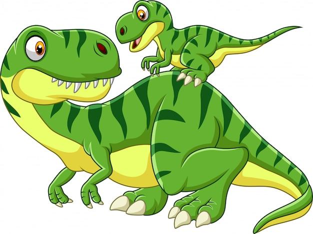 Cartoon moeder en baby dinosaurus Premium Vector