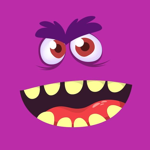 Cartoon monster gezicht avatar. halloween monster Premium Vector