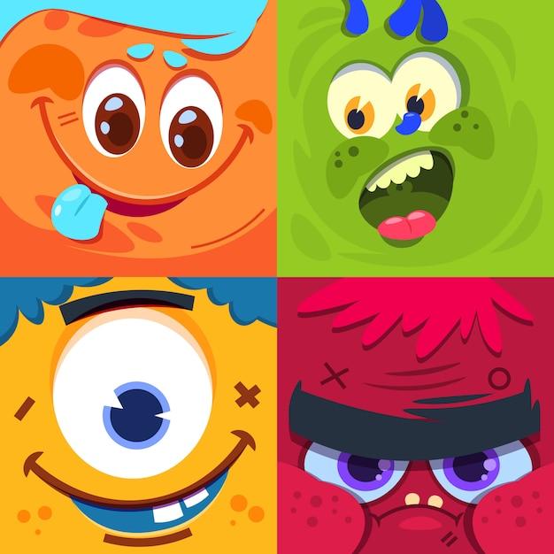 Cartoon monster gezichten. enge carnaval buitenaardse monsters maskers. tekens ingesteld Premium Vector